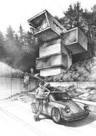Modern House Drawing by Very Realistic And Amazing Sketch Showing Great Detail Throughout