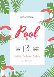 summer pool party poster design template template fotojet