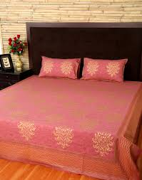 bed spreads queen pastel red beautiful cotton damask indian