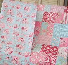 Shabby Chic Quilting Fabric by Quilt Throw Shabby Decor Floral Aqua Blue Pink White Red Tanya
