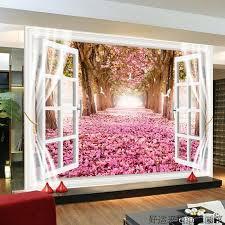 cherry blossom bedroom custom 3d mural custom large scenic mural wallpaper tv backdrop