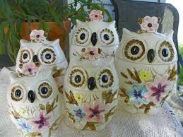 japanese canister set piece napcoware ceramic owl canister