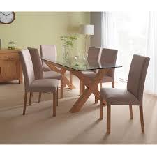 casa oakley glass table u0026 6 chair dining set leekes