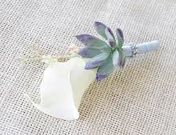 succulent boutonniere rustic real touch calla boutonniere in any color succulent