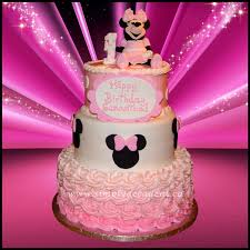 3 tier pink disney minnie mouse 1st birthday cake with 3d hand