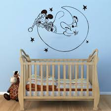 Mickey Home Decor Creative New Diy Mickey Mouse Moon Goodnight Wall Stickers