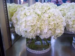 hydrangea wedding centerpieces hydrangea centerpiece with rhinestone sash wedding style