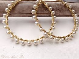 pearl hoop earrings gold wire wrap hoop earrings pearl earrings beaded hoops