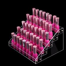 nail polish holder 5 step counter clear acrylic display stand