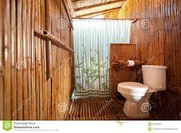 Bathroom Bamboo Bathroom Bamboo With Masonry Shower Cubicle Stock Photo Image