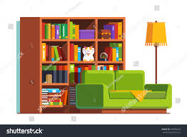 minimalist room interior design sofa big stock vector 645087643 minimalist room interior design with sofa big bookcase full of books and standard lamp