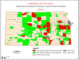 Map Of The State Of Kansas by Farming On The Edge State Maps American Farmland Trust