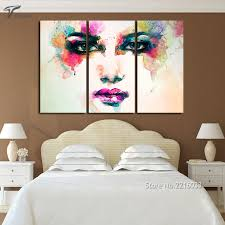 piece canvas picture watercolor paintings color woman face art