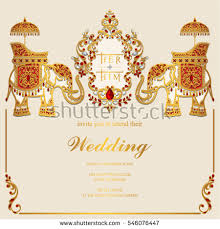 indian wedding card templates indian wedding invitation card templates gold stock vector