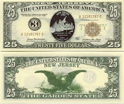 twenty five dollars new jersey united states statehood commemorative notes private