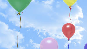 balloons that float colorful balloons floating upward a cloudy sky stock footage