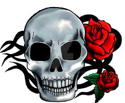 a skull with roses now colored by redpyrocat on deviantart