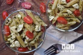 pesto caprese pasta salad bites for foodies