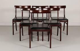 Esszimmerst Le Schwarz Leder Dänische Vintage Rungstedlund Stühle Aus Mahagoni Und Leder Von