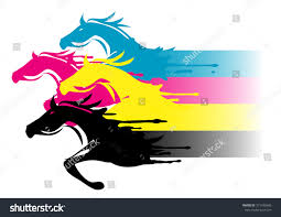 fast printing concept four running horses print stock vector