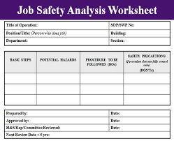 job safety analysis template excel project management