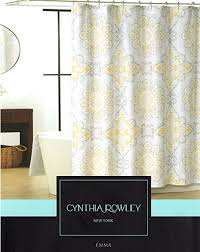 Grey And Yellow Shower Curtains Cynthia Rowley Medallion Damask Shower Curtain In