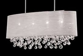 Chandeliers With Shades And Crystals by New 4 Lamp Chandelier Oval Drum Shade Teardrop Crystal Chandelier