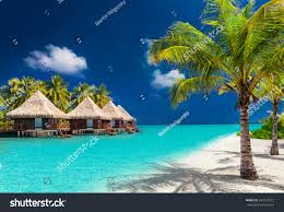 over water bungalows on tropical island stock photo 345773612