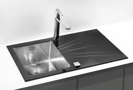Glass Kitchen Sink Black White Bespoke Colours Yellow Red - Black glass kitchen sink