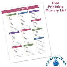 grocery shopping list template archives karen cookie jar