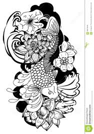 beautiful doodle art koi carp tattoo design stock vector image