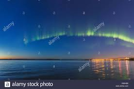 anchorage northern lights tour northern lights over anchorage and the high tide of cook inlet stock
