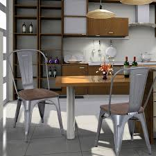 Tolix Bistro Chair Adeco Tolix Style Matte Silver Grey Metal Dining Bistro Chair