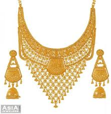 gold bridal set 22k bridal necklace and earrings set ajst52726 22k gold bridal