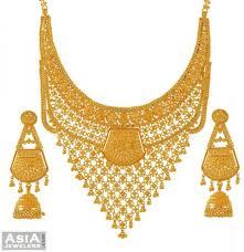 bridal gold set 22k bridal necklace and earrings set ajst52726 22k gold bridal