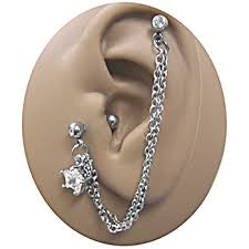 earrings with chain ear cartilage pair of dangle cartilage to lobe ear cuffs no chain