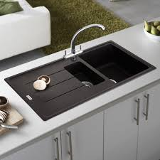 White Granite Kitchen Sink Modern Design Ideas Using Silver Single Faucets And White