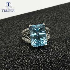 topaz gemstone rings images Tbj big blue topaz gemstone ring 8ct emerald concave shinning cut jpg