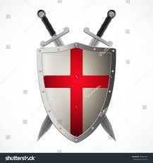 Red And White Flag With A Cross Vector Crusaders Shield Crossed Swords Isolated Stock Vektorgrafik