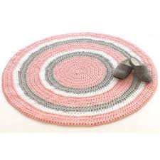 Pink Grey Rug Children Rug Cotton Rug Crochet Rug Round Rug Knitted Ru