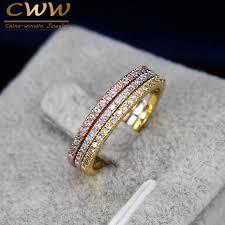 colored wedding rings images Cwwzircons 3 pcs mix colors women cz stones engagement wedding jpg