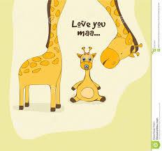 s day giraffe happy mothers day celebration with giraffe stock illustration