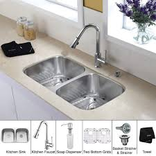 Small Kitchen Sinks Stainless Steel by Kitchen White Sink With Stainless Steel Faucet Double Bowl