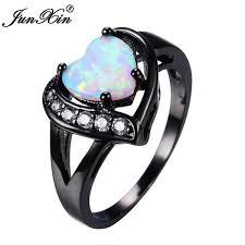 bridal fashion rings images Junxin women white fire opal heart ring with aaa zircon black gold jpg
