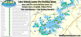 lake lanier map lake lanier fishing spots and fishing map for gps