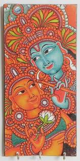 mural on wood radha krishna mural deco painting on a wooden key rack with three
