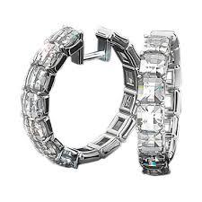 diamond hoops white gold diamond hoop earrings with blaze diamonds bez ambar
