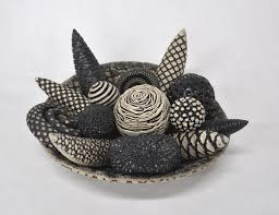 black and white bowl and rattles by kelly jean ohl ceramic