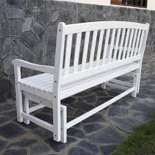 Outdoor Patio Loveseat 4 Ft Outdoor Patio Glider Chair Loveseat Bench In White Wood