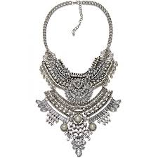 boho statement necklace images Art deco crystal embellished western silver boho edgy statement jpg